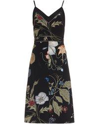 Gucci Floral Knight-Print Silk-Cady Dress - Lyst