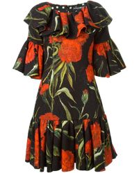 Dolce & Gabbana Carnations Print Embossed Dress - Lyst