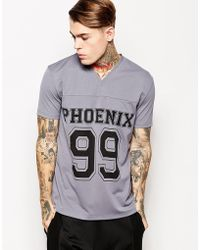 Asos Tshirt with Varsity Print and Mesh Skater Fit - Lyst