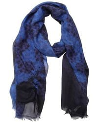 Jimmy Choo Navy And Black Star And Cheetah Print Woven Frayed Scarf - Lyst