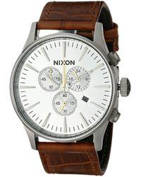Nixon The Sentry Chrono Leather - Lyst