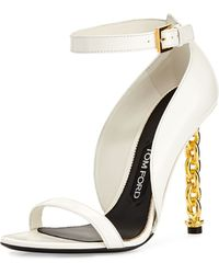 Tom Ford Chain Heel Leather Sandal - Lyst