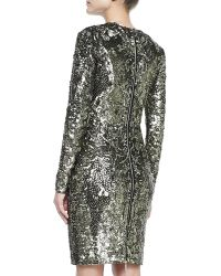 Elie Saab Longsleeve Sequined Beaded Cocktail Dress - Lyst