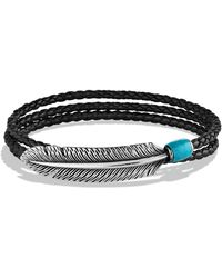 David Yurman Frontier Feather Triplewrap Bracelet in Black with Turquoise - Lyst
