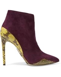 Daniele Michetti - Suede And Elaphe Ankle Boots - Lyst