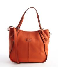 Tod's Clementine Orange Leather Convertible Top Handle Top - Lyst