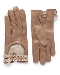Valentino Rockstud Double Strap Short Leather Gloves - Lyst