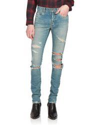 Saint Laurent Trashed Skinny Denim Jeans blue - Lyst
