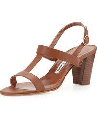Manolo Blahnik Labruni T-Strap Leather Sandal - Lyst