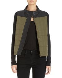 Barneys New York Leather Trimmed Quilted Vest - Lyst