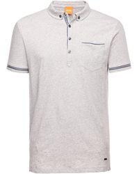 BOSS Orange Pioli | Regular Fit, Cotton Herringbone-Trim Polo Shirt - Lyst