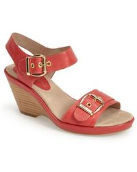 Bella Vita 'Jinny' Leather Stacked Wedge Sandal - Lyst