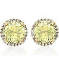 Kiki McDonough | Grace Lemon Quartz Stud Earrings With Diamonds | Lyst