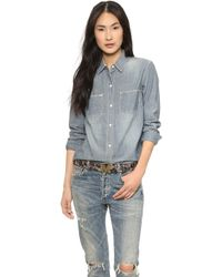 Madewell The New Wash Chambray Shirt Medium Wash - Lyst