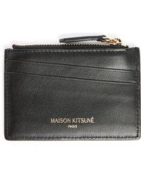 Maison Kitsuné | Black Leather Zipped Card Wallet | Lyst