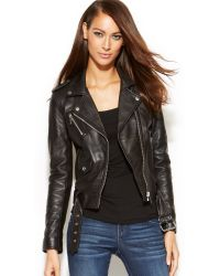 Michael Kors Michael Cropped Leather Moto Jacket - Lyst