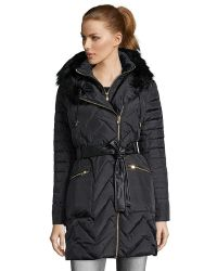 Via Spiga | Black Quilted Faux Fur Trim Hooded 3/4 Length Down Jacket | Lyst