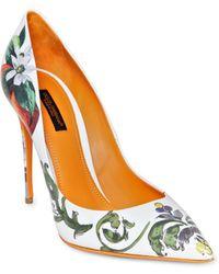 Dolce & Gabbana 105Mm Kate Ceramica Orange Patent Pumps - Lyst