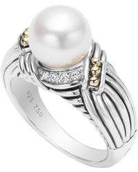 Lagos Luna Diamond & Pearl Twist Small Ring - Lyst