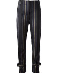 Adam Lippes Buckled Ankles Striped Slim Trousers - Lyst