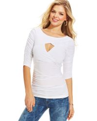 Guess Cutout Ruched Top - Lyst