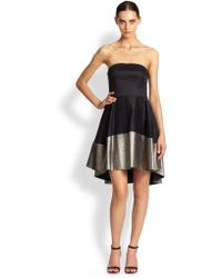 Black Halo Plated Crepe Strapless Dress - Lyst