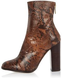 River Island | Brown Leather Snake Heeled Ankle Boots | Lyst