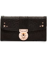 hayden-harnett - Leather Flap Lock Wallet Black - Lyst