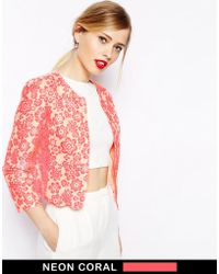 Asos Blazer With Scallop Hem In Floral Jacquard - Lyst
