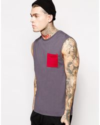 Asos Sleeveless T-Shirt with Contrast Pocket - Lyst