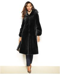 Jones New York Hooded Fauxfur Maxi Coat - Lyst