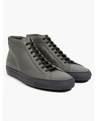 Common Projects Men'S Grey Leather Hi-Top Achilles Sneakers - Lyst