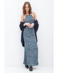 Forever 21 Floral Chiffon Maxi Dress - Lyst
