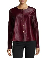 Lafayette 148 New York Snap-Front Leather Jacket red - Lyst
