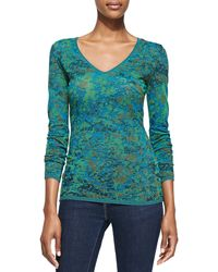 M Missoni Spacedyed Marble Knit Vneck Top - Lyst