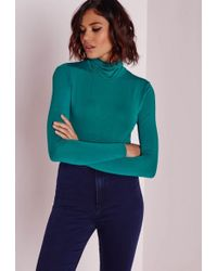 Missguided - Roll Neck Long Sleeve Crop Top Teal - Lyst