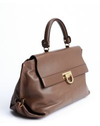 Ferragamo Deep Taupe Leather Sofia Convertible Satchel - Lyst