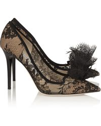 Jimmy Choo Duchesse Suedetrimmed Lace Pumps - Lyst