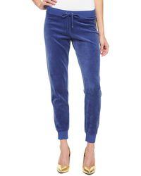 Juicy Couture   blue Logo Jc Lace Velour Slim Pant   Lyst