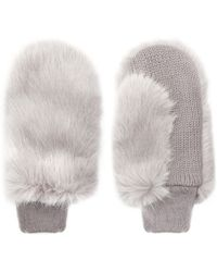 Whistles Faux Fur Mitten - Lyst