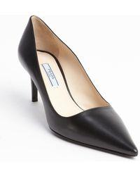 Prada Black Leather Pointed Toe Pumps - Lyst