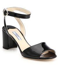 Prada Patent Leather Block-Heel Sandals - Lyst