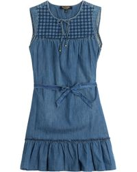 Juicy Couture Embroidered Denim Dress - Lyst