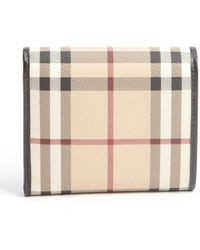 Burberry Chocolate Coated Canvas Leighton Snap Trifold Wallet - Lyst