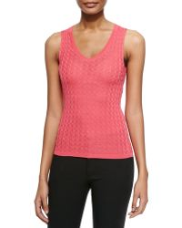 M Missoni Solid Chevron Knit Tank - Lyst