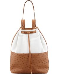 The Row Bicolor Canvas and Ostrich Backpack - Lyst