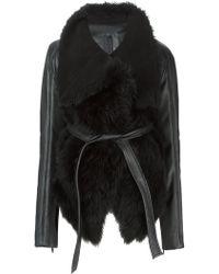 Gareth Pugh Fur Trimmed Belted Coat black - Lyst