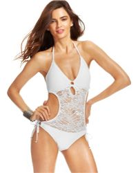 Polo Ralph Lauren Crochet Illusion Monokini Swimsuit - Lyst