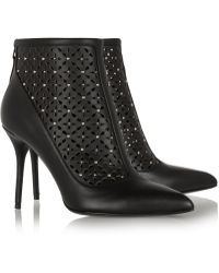Alexander McQueen Perforated Studded Leather Ankle Boots - Lyst