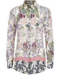 Etro Floral Silk Boyfriend Shirt - Lyst